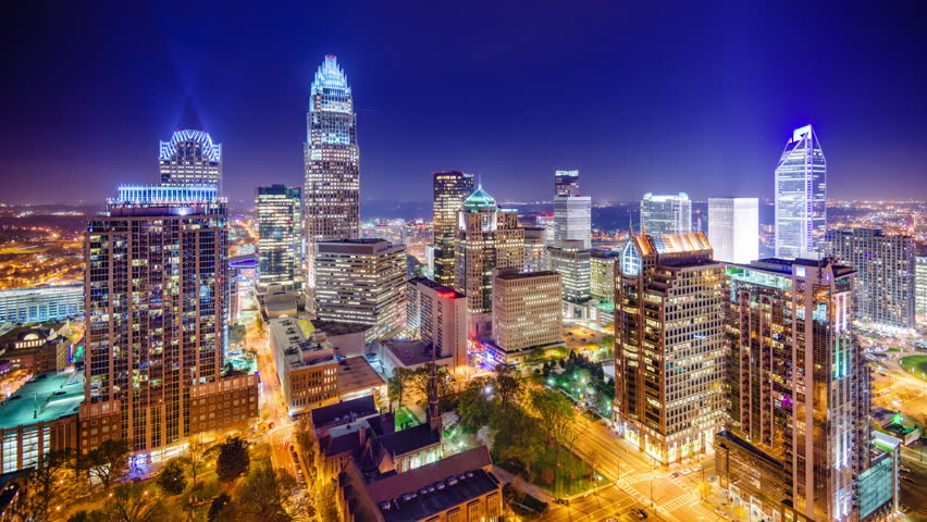 Charlotte, North Carolina, USA downtown city skyline.