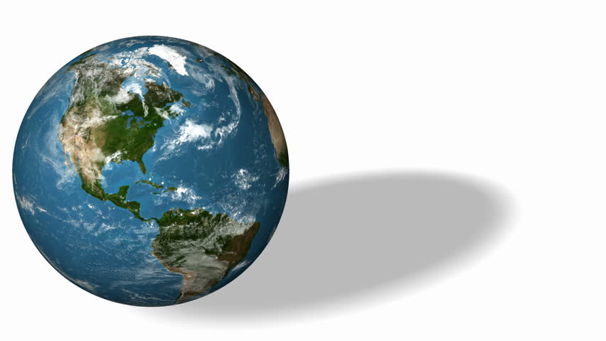 3d Earth Animation 31. Earth rotate on white background with shadow. Alpha Matte. High quality textures