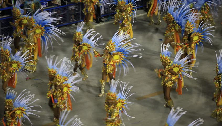 RIO DE JANEIRO, BRAZIl - FEBRUARY 16, 2015: Participants in the Carnival present their costumes during the Carnival, February 16, 2015 in Rio de Janeiro, Brazil