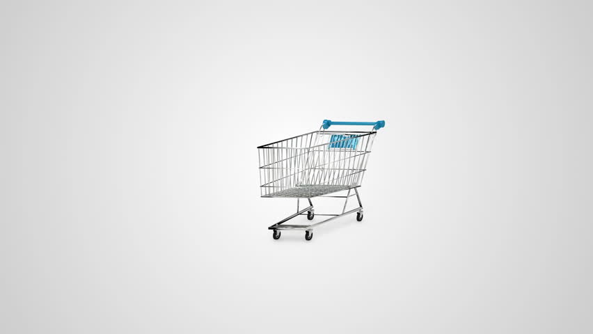 Digital animation of gifts dropping in the trolley on white background | Shutterstock HD Video #9623108