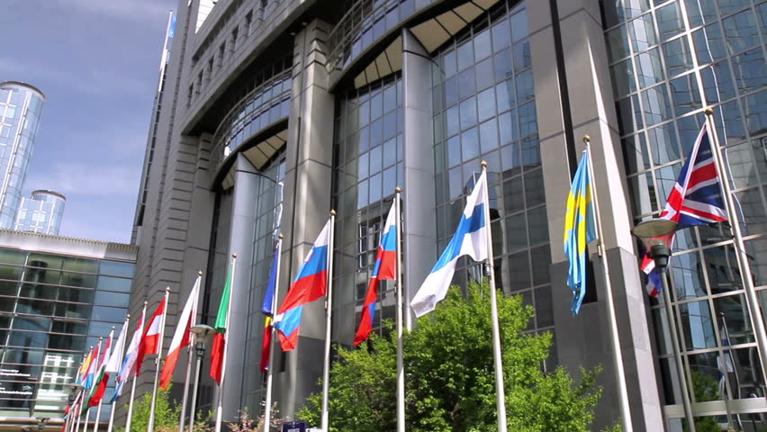 European countries flags waving In the wind In front of European Parliament (Brussels, Belgium).   Shutterstock HD Video #9634418