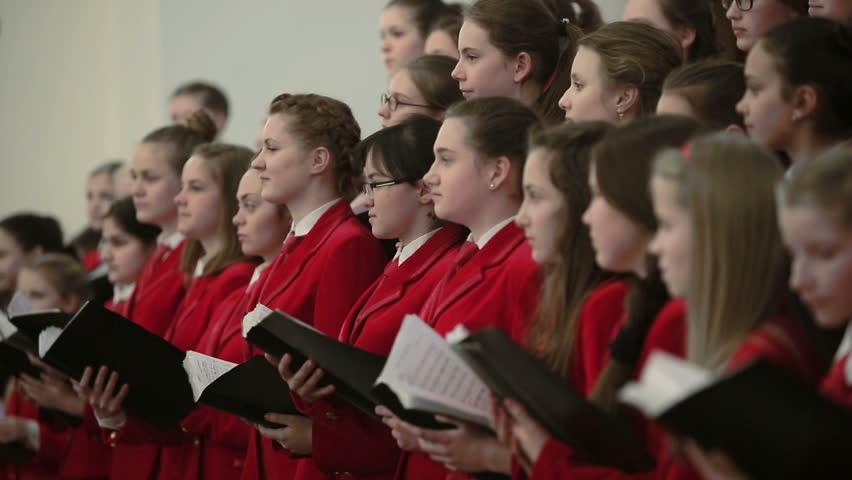 BELARUS, MINSK - 8 APRIL, 2015: Children's choir concert in the Belarusian Philharmonic.