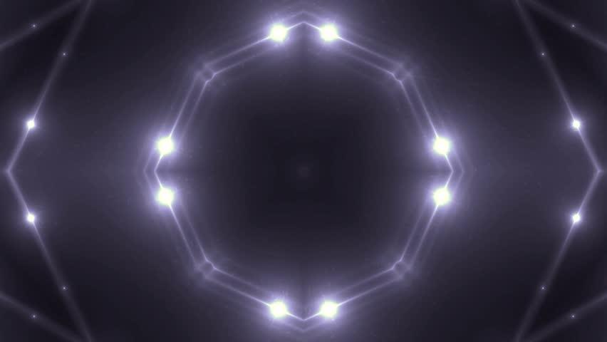 Fractal violet kaleidoscopic background. Background motion with fractal design. Disco spectrum lights concert spot bulb. More sets footage in my portfolio #9645143
