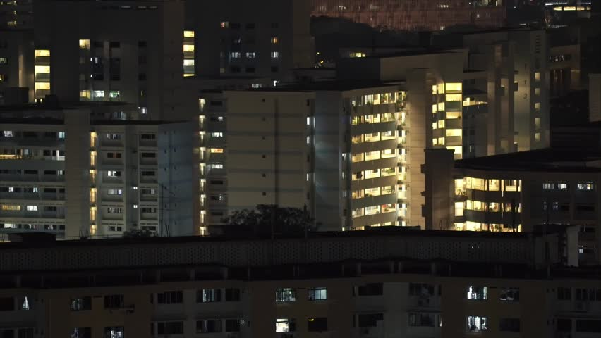 Singapore - March 2015 Residental Apartment Building Close-up at Night | Shutterstock HD Video #9650252