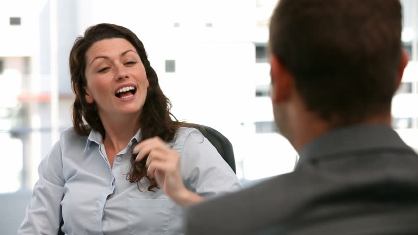 Appointment between a businesswoman and a businessman in the office #967171
