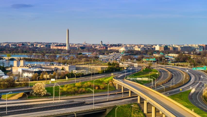 Washington, DC cityscape time lapse.