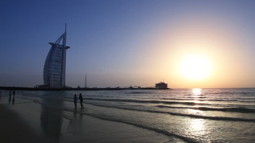 DUBAI - APRIL 17: The Burj Al Arab, five-star hotel, at sunset on April 17, 2010 in Dubai, United Arab Emirates. At 321 m (1,053 ft), it is the fourth tallest hotel in the world.