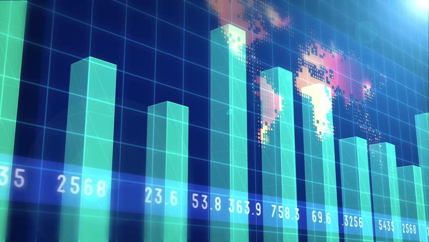 Financial chart and stock market bar chart for use as  financial report and stock market presentation | Shutterstock HD Video #9689327