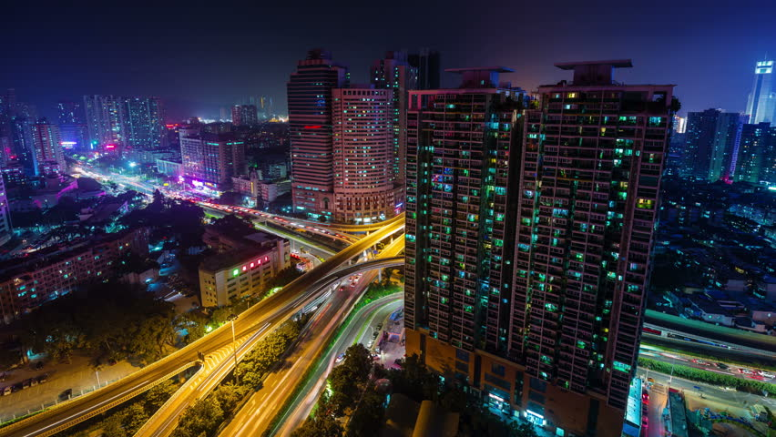Shenzhen night light traffic junction cityscape 4k time lapse china | Shutterstock HD Video #9694328