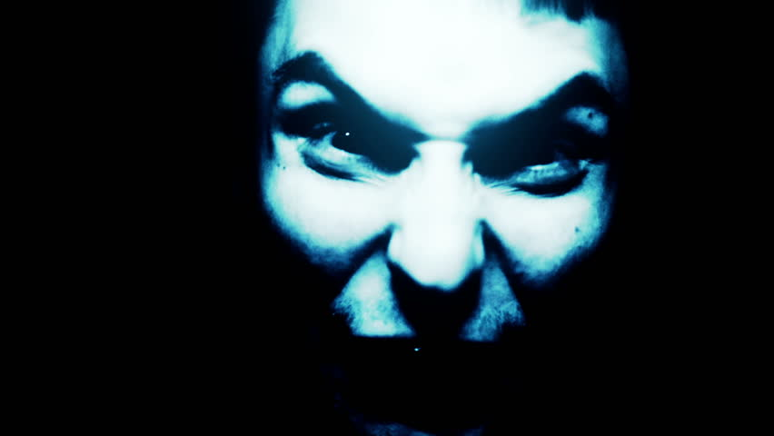 Horror scene screaming man face. Scary evil many faces. Devil spiritual exorcism