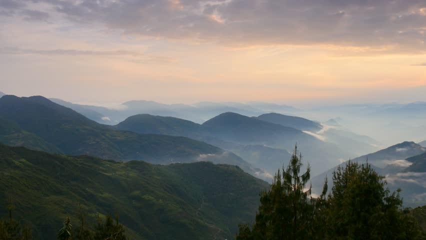 Panning shot of Foggy Himalayas mountains. Nepal.   UHD, 4K   Shutterstock HD Video #9710852