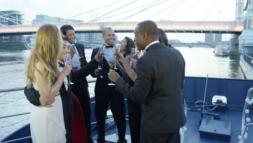 4K Happy diverse group of friends drinking champagne & having fun at boat party | Shutterstock HD Video #9743288