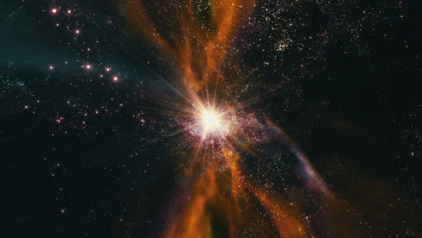 Flying through star fields and galaxies in deep space as a supernova bursts light (Loop). | Shutterstock HD Video #9773975