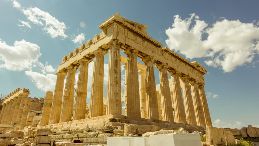 4K Acropolis parthenon site timelapse pillars bright sunny sky.4K and HD afternoon timelapse of the Acropolis/parthenon on a bright sunny day.