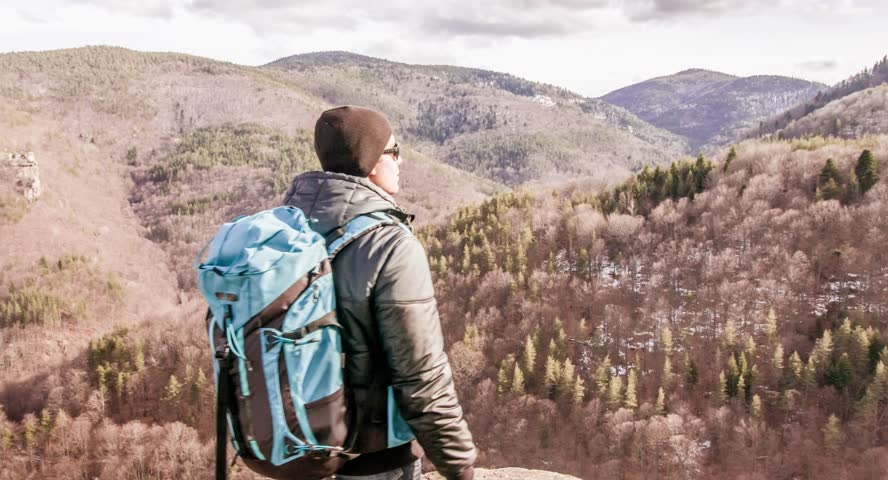Hiker Travel Nature People Adventure Male Person Hike Outdoor Hiking Mountain Backpack Trekking Man Sport Young Happy Backpacker Activity Active | Shutterstock HD Video #9788795