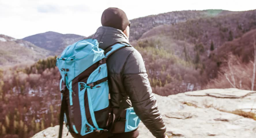 Person Sport Man Nature Winter Sun Spring Hiker Travel People Adventure Male Hike Outdoor Hiking Mountain Backpack Trekking Young Happy  | Shutterstock HD Video #9788801