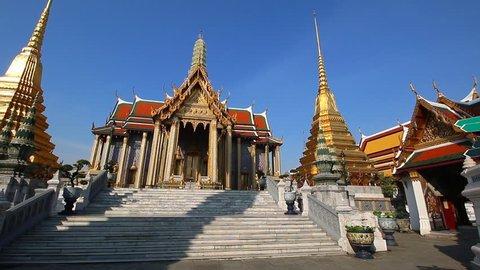 Wat Phra Kaew Famous Temple Of the Emerald Buddha Bangkok, Thailand (pan shot)