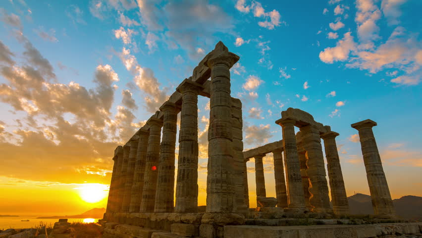 4K 30p Golden sea sunset Ancient Temple of Poseidon Sounio Greece .4K Sunset timelapse of the Ancient temple of Poseidon monument in Cape Sounio of Athens,Greece.