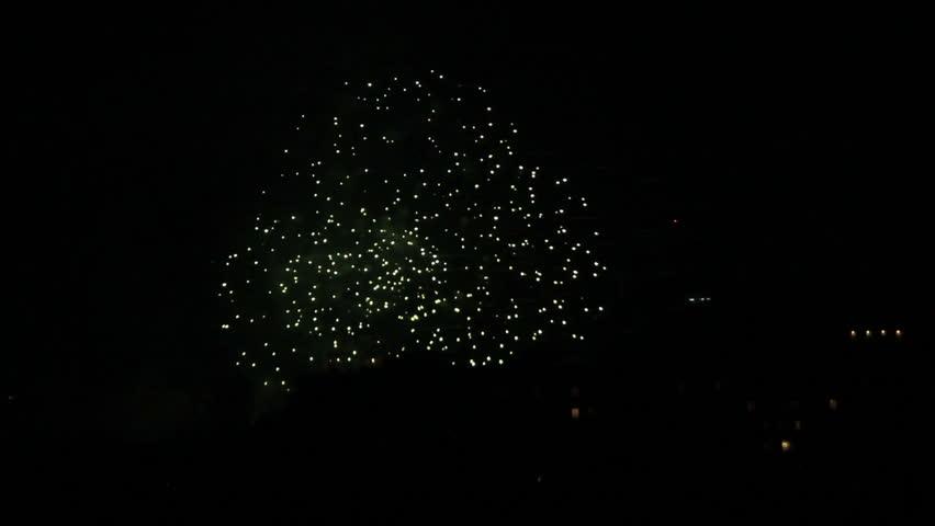 Firework burning sparkles in night sky | Shutterstock HD Video #9838076