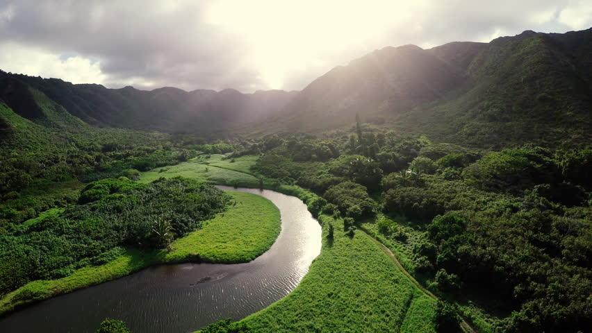 Amazing Lighting Aerial Flight Over Hawaii Rainforest Tropical River Valley | Shutterstock HD Video #9841571