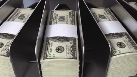 money conveyor, realistic cg animation, seamless loop