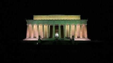 Washington, DC/United States - November 2012: Long distance static shot of the Lincoln Memorial at night in Washington DC
