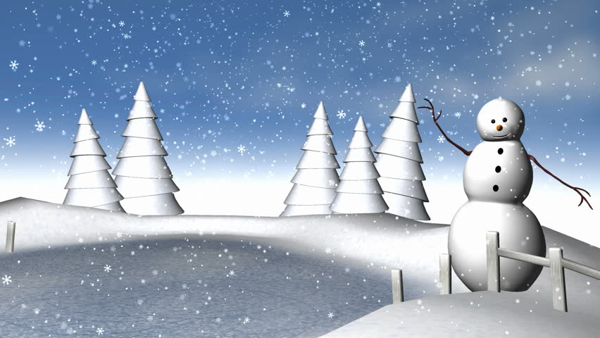 A Classical Winter Scene.  looping snowflakes animation