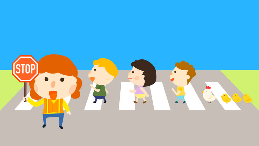 Cartoon animation of kids walking on zebra lines to cross the street. Female parent volunteer as school supervisor holding a hexagon stop symbol sign. Traffic awareness and avoid car accident idea.