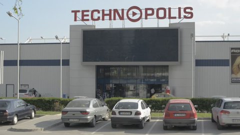 Varna, Bulgaria - May 05, 2015: TECHNOPOLIS is a chain of specialized hypermarkets for white and black goods, office equipment, and information technologies.