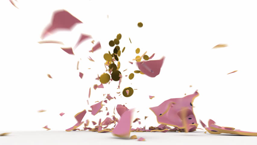 Falling pink piggy bank breaking into pieces