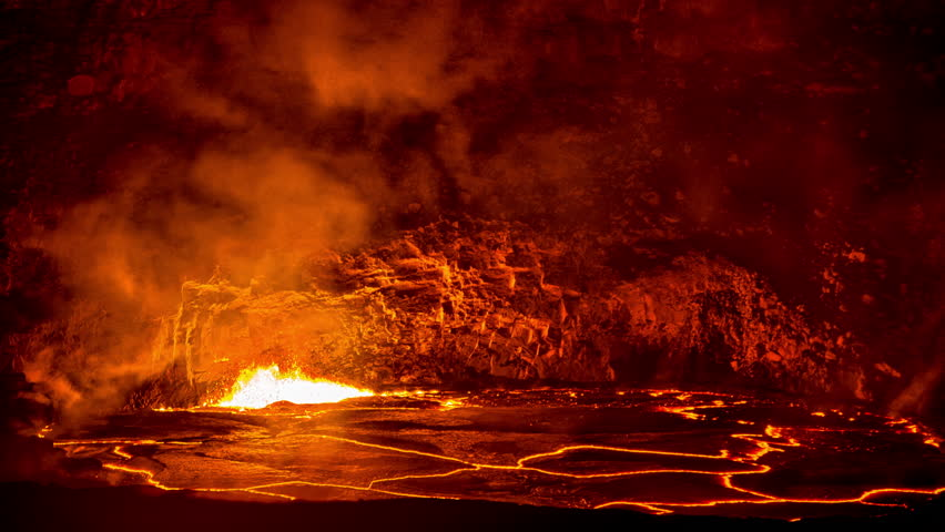 Exploding Volcanic Lava In Caldera Time Lapse, Kilauea, Hawaii