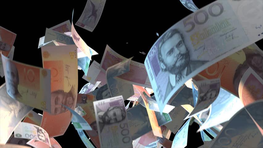 Falling Estonia money banknotes Video Effect simulates Falling Mixed Estonia Money banknotes with alpha channel (transparent background) in 4k resolution  | Shutterstock HD Video #9910415
