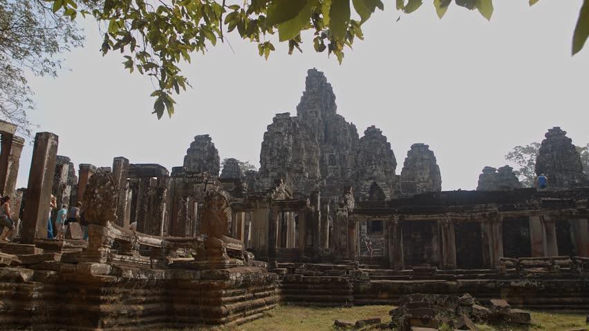 ANGKOR, CAMBODIA - FEBRUARY 15 Old Bayon temple of Angkor, ruins, stedicam shot on February 15, 2015 in Angkor, Cambodia