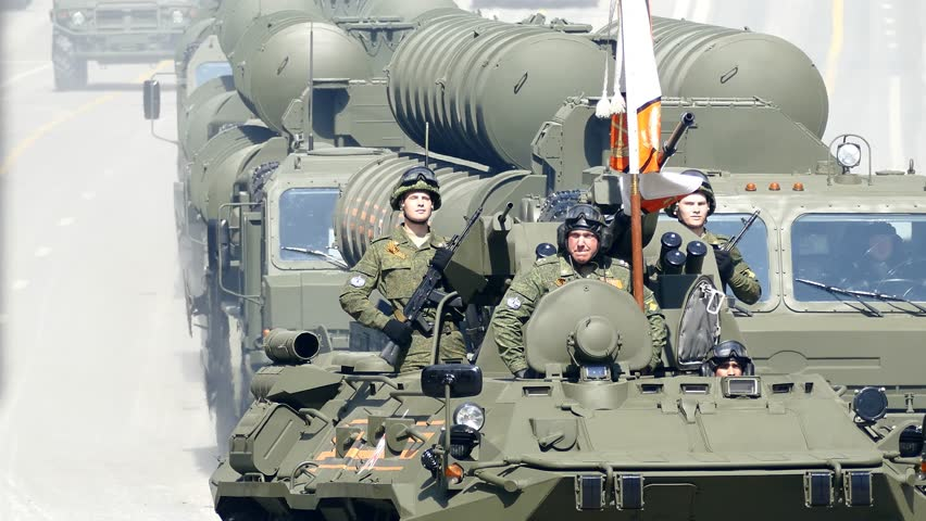 MAY 09, 2015 MOSCOW Military machinery moving through Tverskaya street during Victory Day parade.