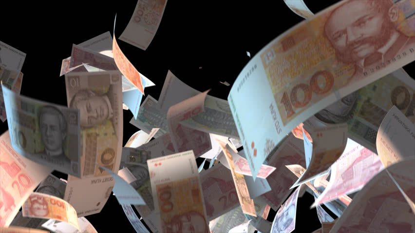 Falling Croatia money banknotes  Video Effect simulates Falling Mixed Croatia money banknotes with alpha channel (transparent background) in 4k resolution  | Shutterstock HD Video #9922085