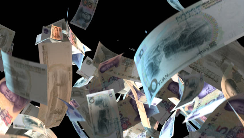 Falling China money banknotes Video Effect simulates Falling Mixed China Money banknotes with alpha channel (transparent background) in 4k resolution  | Shutterstock HD Video #9922100