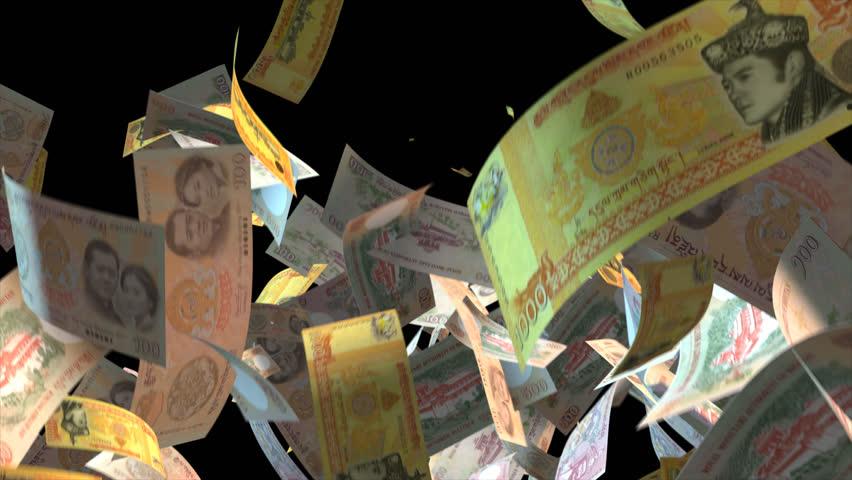 Falling Bhutan money banknotes Video Effect simulates Falling Mixed Bhutan Money banknotes with alpha channel (transparent background) in 4k resolution  | Shutterstock HD Video #9922103