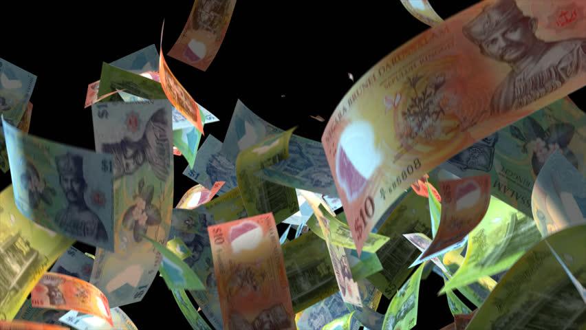 Falling Brunei money banknotes Video Effect simulates Falling Mixed Brunei Money banknotes with alpha channel (transparent background) in 4k resolution  | Shutterstock HD Video #9922124