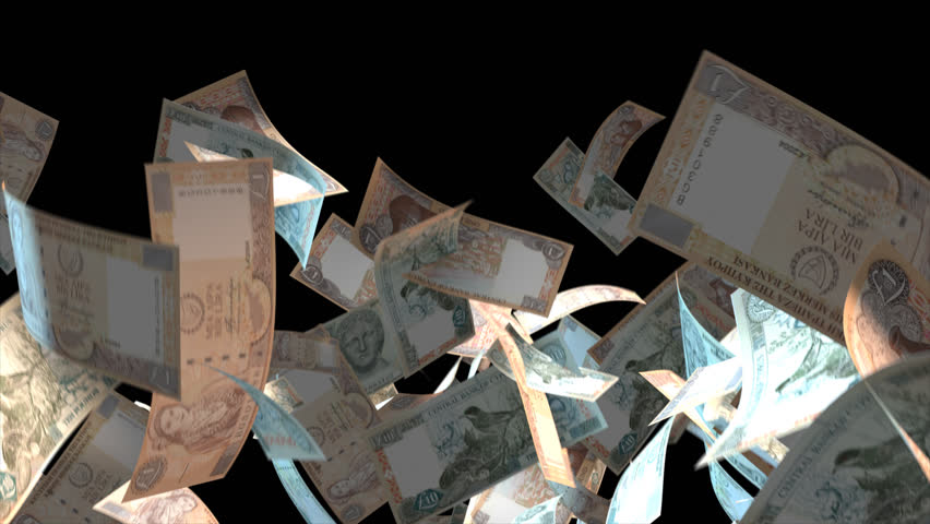 Falling Cyprus money banknotes  Video Effect simulates Falling Mixed Cyprus money banknotes with alpha channel (transparent background) in 4k resolution  | Shutterstock HD Video #9922127
