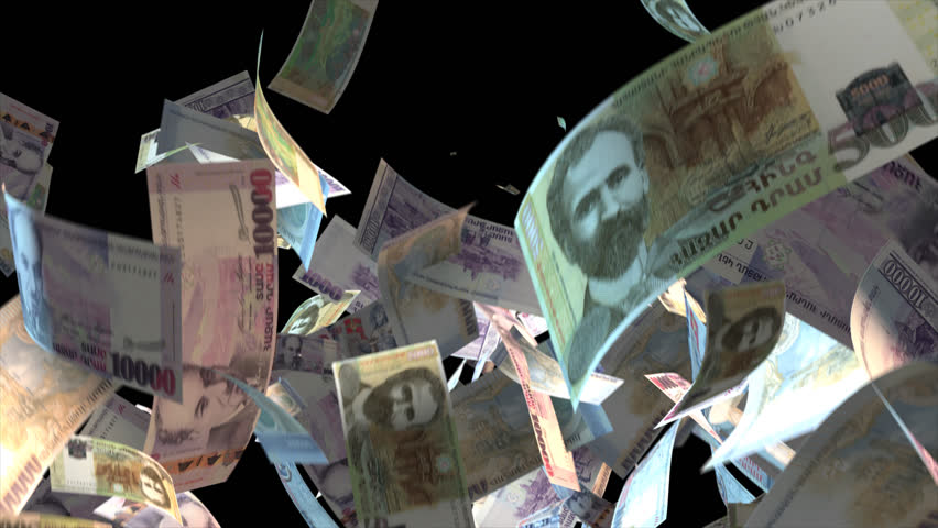 Falling Armenia money banknotes Video Effect simulates Falling Mixed Armenia Money banknotes with alpha channel (transparent background) in 4k resolution  | Shutterstock HD Video #9922130