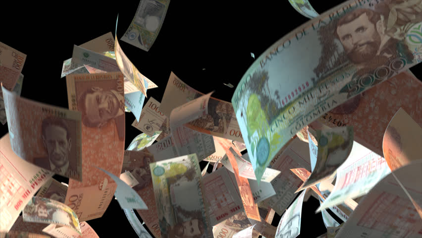Falling Colombia money banknotes