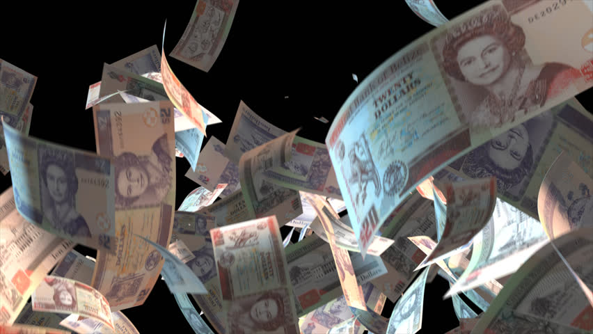 Falling Belize money banknotes