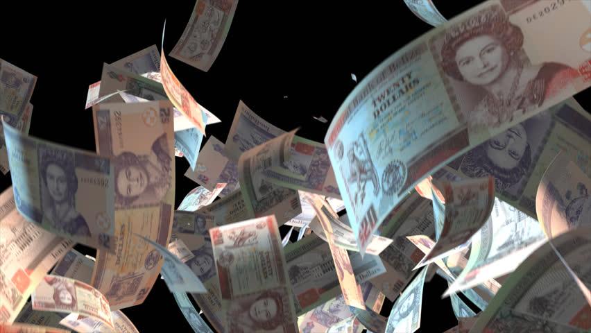 Falling Belize money banknotes Video Effect simulates Falling Mixed Belize Money banknotes with alpha channel (transparent background) in 4k resolution  | Shutterstock HD Video #9922154