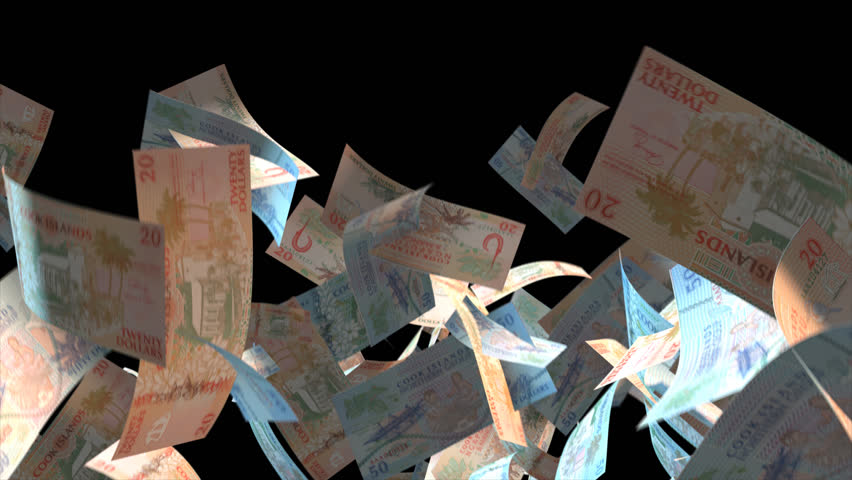 Falling Cook Islands money banknotes  Video Effect simulates Falling Mixed Cook Islands money banknotes with alpha channel (transparent background) in 4k resolution  | Shutterstock HD Video #9922157