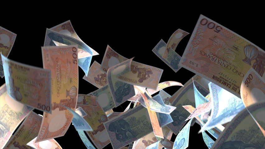 Falling Cameroon money banknotes Video Effect simulates Falling Mixed Cameroon Money banknotes with alpha channel (transparent background) in 4k resolution  | Shutterstock HD Video #9922169