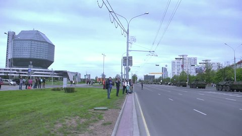 Military vehicles on the streets of Minsk for celebration the 70-th parade Victory Day in World War Two. Belarus, Minsk, 9 May 2015. Slow motion shot 50fps