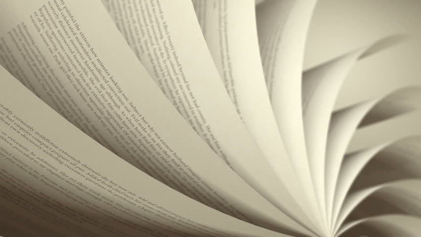 Turning Pages (Loop) English Book. Pages with random English words / sentences. Seamless Loop, depth of field, sepia tone.