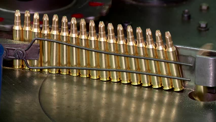 Factory of ammunition, bullets for rifle on production line