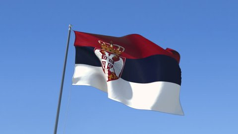 Flag of Serbia Waving on the Wind. Seamless Loop, You can Find the Alpha matte in my other videos.